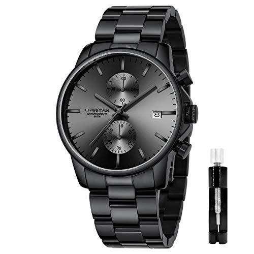 Reloj de Cuarzo con cronógrafo de Acero Inoxidable y Metal, Resistente al Agua, con Fecha automática en manecillas Coloridas (Gris Oscuro)