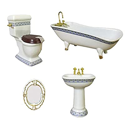 Dollhouse Furniture Miniature Bathroom Accessories Set 4PCS-1:12 Scale