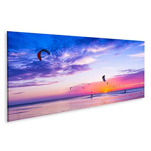 Bild auf Leinwand Kitesurfen vor einem wunderschönen Sonnenuntergang Viele Silhouetten des Kits Bilder Wandbild Poster Leinwandbild