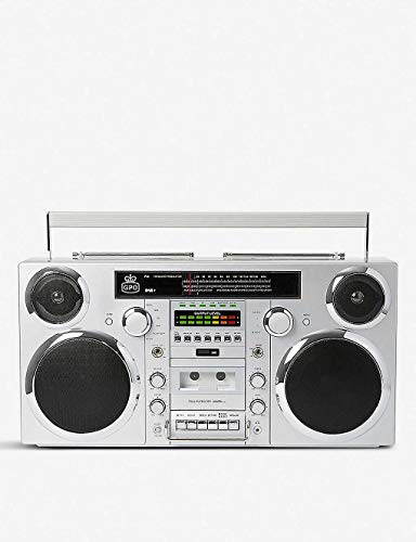 GPO Brooklyn 1980S-Style Portable Boombox - CD Player, Cassette Player, FM Radio, USB, Wireless Bluetooth Speaker - Silver