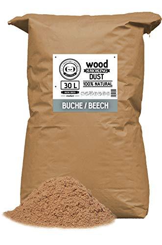 Grillgold Räuchermehl Wood Smoking Dust. Zum räuchen und kalträuchern von Fisch, Fleisch und Gemüse auch für BBQ und Grill geeignet. In Papier-Sack befüllt mit 30 Liter Buche
