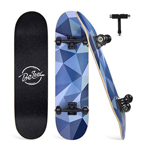 Beleev Skateboard for Kids Teens Adults, 31 inch Complete Standard Skateboards for Beginners Girls Boys, 7 Layer Maple Double Kick Deck Concave Cruiser Trick Skateboard (Grey)