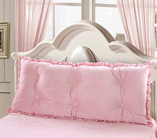 NJYT Big Velvet Filled Triangle Tatami Wedge Cushion Reading Pillow Bedside Positioning Support Sofa Bed Backrest Lumbar Pad (Color : Pink, Size : 180cm(71inch))