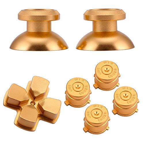 Keesin - Palo de Aluminio de Repuesto para Pulgar, Tapa de Botones de Bala, Almohadilla de botón AXBY, Palillos para Mando de PS4 Dorado