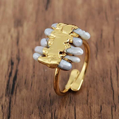 JIAJIA Perlenring Handgefertigte Vergoldete Natürliche Süßwasserperle Verstellbarer Ring Weibliche Damen Geschenk Party Ring