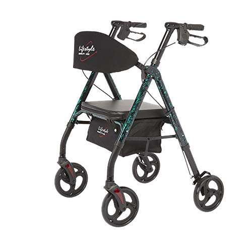 Lifestyle Mobility Aids Royal Deluxe Universal Aluminum 4 Wheel Rollators (Laser Green)