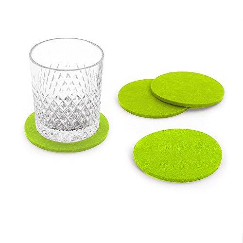 Oblique Unique® Filzuntersetzer rund 4er Pack für Tisch und Bar - Glasuntersetzer Untersetzer aus Filz (Apfelgrün)
