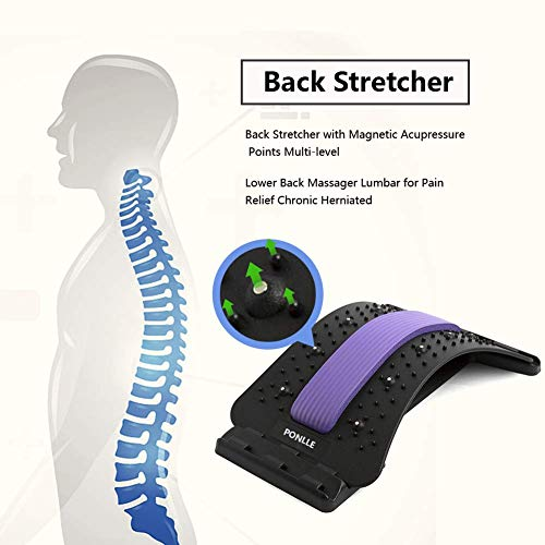 Lower Back Stretcher with Magnetic Acupressure Points Multi-Level Lumbar Support Lumbar for Pain Relief Chronic Herniated Disc Sciatica Scoliosis Spinal Back Stretcher for Relieve Back Pain