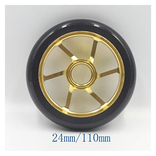 Ruedas De Scooter Freestyle Truco scooter ruedas alta elasticidad PU aleación de aluminio acero hub scooter rueda de alta elasticidad acero cubo llantas 110 mm 125 mm ( Color : 24mm 2pcs Black Gold )