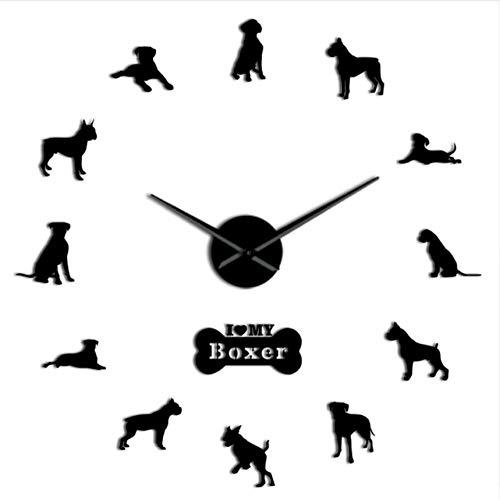 Menddy Deutscher Boxer Hund Zeitgenössische Wanduhr DIY Time Clock Deutscher Boxer Große Wandkunst Dekoration Schwarz 37 Zoll