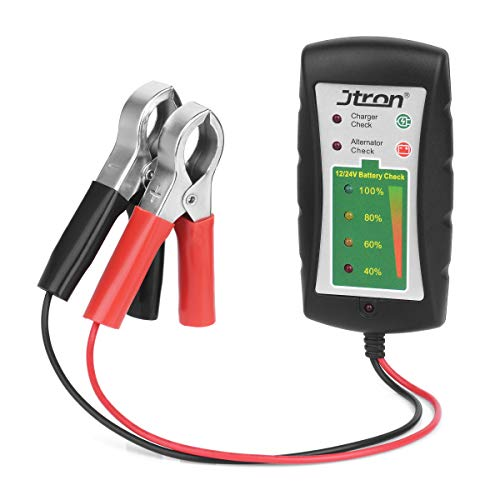 Jtron Testeur de Batterie de Voiture 12/24 V DC avec alternateur LED pour Voiture, Moto, Camion, Batterie