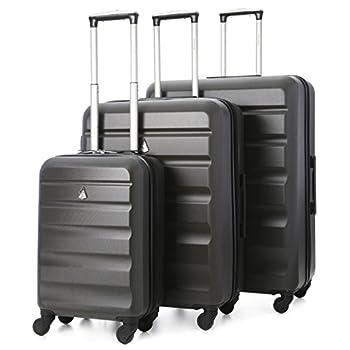Aerolite ABS Set de 3 Valises Rigides Légeres à 4 roulettes, Bagage Cabine + 69cm + 79cm, Gris Foncé