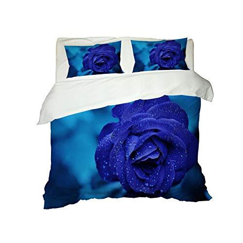 HKDGHTHJ Juego De Cama Infantil con 3D 200X240 cm Azul Flores Gotas De Agua Funda De Edredón Juego De Ropa De Cama Juego De Funda Nórdica De Microfibra Ligera