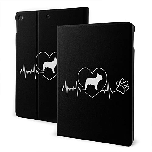 French Bulldog Heartbeat Case for iPad 8th Generation Case 10.2 inch Smart Cover with Auto Wake/Sleep Slim Stand Hard Back