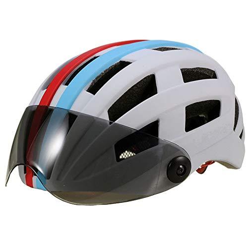 AJL Blanco y RedBlue Ciclismo Casco de Bicicleta con Gafas Moldeado de una Pieza Tecnología aerodinámica de la tecnología Capa Capa Capa DE RACINCIÓN Equipo DE PROTECCIÓN DE LA Bicicleta