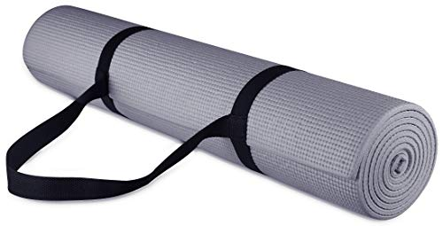 BalanceFrom GoYoga All-Purpose 1/4-Inch High Density Anti-Tear Exercise Yoga Mat with Carrying Strap , Gray