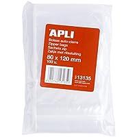 APLI 13135, Pack de 100 Bolsas de Plástico con Autocierre, 80 x 120 mm, Multicolor