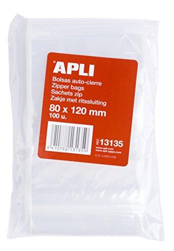 APLI 13135, Pack de 100 Bolsas de Plástico con Autocierre,