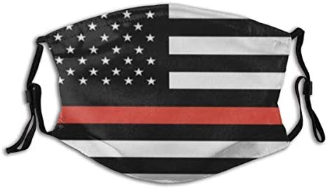 Thin Red Line Firefighter Flag American Flag Dust Washable Reusable Filter and Reusable Mouth product image