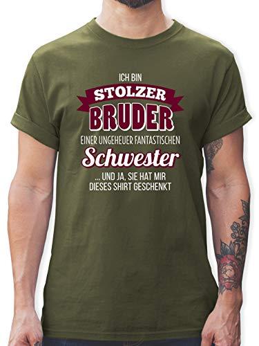 Bruder & Onkel - Ich Bin stolzer Bruder - XXL - Army Grün - stolzer Bruder t-Shirt - L190 - Tshirt Herren und Männer T-Shirts