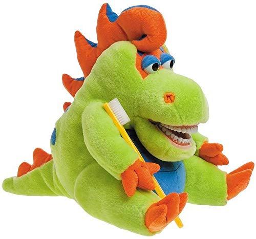 Zahnkönige | Große Plüschtier Handpuppe Puppe Dino Dinosaurier | Mit Riesenzahnbürste & Wasser Spucken | ca. 40-50cm | Zahnarzt Kinder Deko