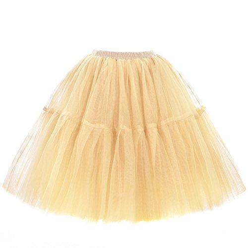 Babyonline Damen eleganten A-line Tüll Tutu Rock Prom Outfit Märchen Stil Einheitsgröße - Champagner