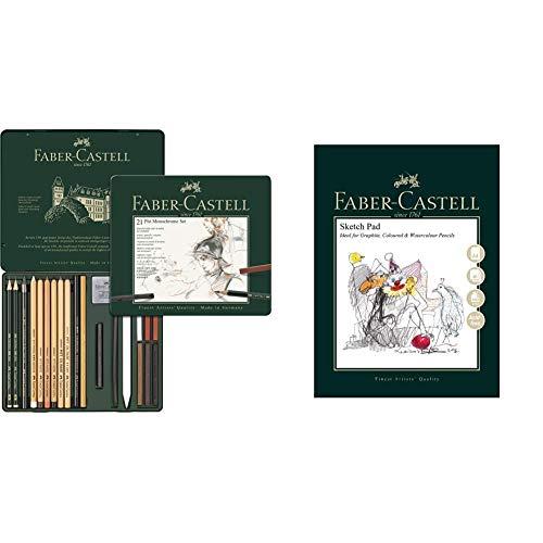 Faber-Castell 112976 Estuche de metal con 21 piezas, surtido de carbonos, grafitos, ecolápices y tizas + Bloc de dibujo A4