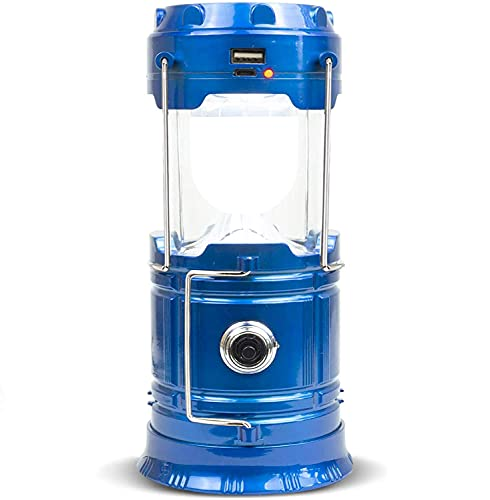 Lámpara solar LED de camping XVZ, portátil, linterna de camping, linterna recargable USB y micro puerto, lámpara de camping IPX4, impermeable, para tienda de campaña, emergencia, senderis, color azul