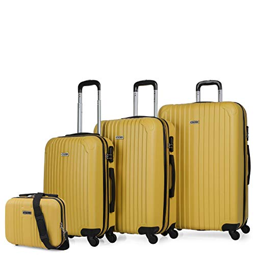 ITACA - Set 3 Suitcases and Beauty case 4 Wheels ABS. Rigid and Lightweight. Padlock. Extensible. Small, Medium and Large T71500B, Color Mustard