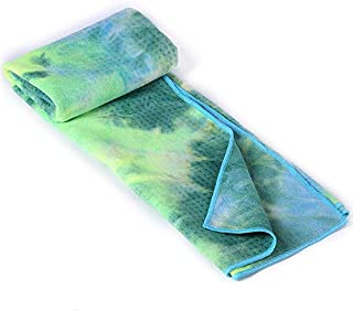 Tie-Dye Silicone Yoga Towel Green, Yoga Partner Soft Sweat, Silicone Particles are Not Easy to Move. Suitable for Hot Yoga Pilates