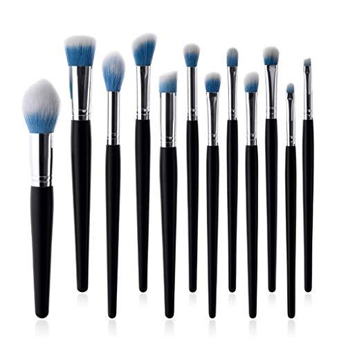Eyeshadow Brushes Ensemble de pinceaux de maquillage 12 pièces Professional Advanced Powder Brush Foundation Pinceau Flame Brush Fibre synthétique noir Bing Silver Tube Outils de maquillage