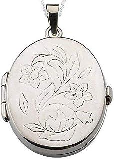 Alylosilver Collana con Ciondolo Medaglione Portafoto Ovale in Argento Sterling per Donna con Fiori Incisi. Include Catena...