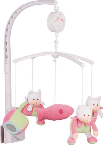 Doudou et Compagnie - Mobile Musical Bébé Avec Peluche Chat - Diamètre 34 cm - Rose - DC1003