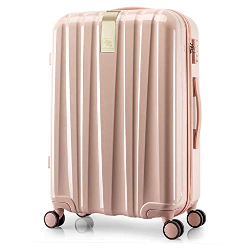 LSZ Hanke Town store treasure hard box universal wheel trolley case 20 inch suitcase 24 inch male suitcase female boarding chassis Luggage Sets (Color : Pink, Size : 22)