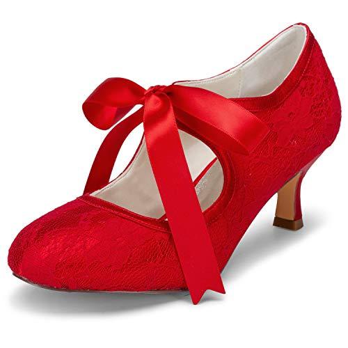 JIA JIA 14031 Hochzeitsschuhe Brautschuhe Spitze Damen Pumps Farbe Rot,Größe 39 EU