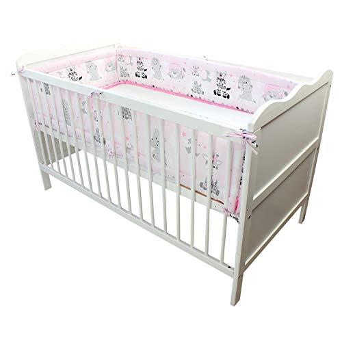 TupTam Baby Nestchen für Babybett Gemustert, Farbe: Baby Tiere Grau/Rosa, Größe: 420x30cm (für Babybett 140x70)