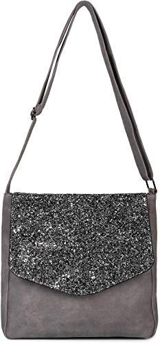 styleBREAKER Damen Messenger Bag Umhängetasche mit Pailletten Überschlag, Schultertasche, Crossbody Bag, Tasche 02012294, Farbe:Grau