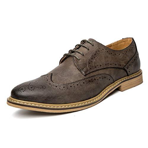 huaian haoyushangmaoyouxian Herren Oxfords Urban Casual Bullock Braun Grau Formelle Oxford-Schuhe