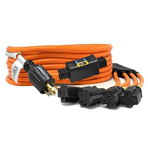 Ceptics 25-Ft 30-Amp Generator Distribution Extension Cord (L14-30 to 4x 5-15/20R) w/ Breaker Switch| UL Listed | 4-prong locking plug | 30A to 20A, 125/250V