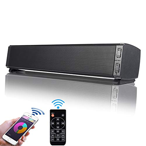 Soundbar PC Lautsprecher Fityou Bluetooth 5.0 Tragbare 20W Wireless Mini Computer Soundbar eingebautes Mikrofon, USB Speakers für TV/PC/Handy/Laptop mit Fernbedienung, Schwarz