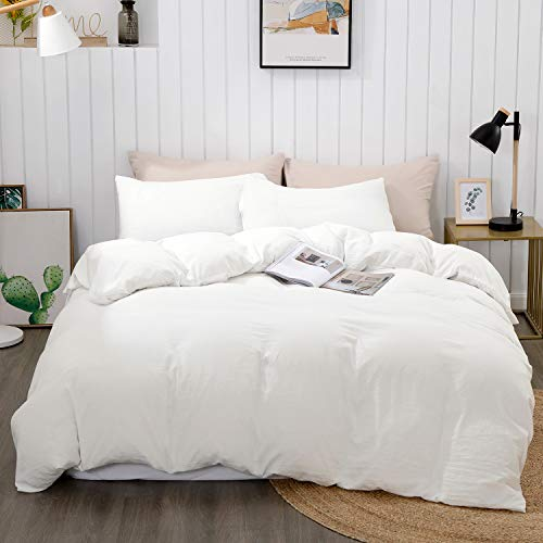 "BEDELITE Duvet Cover King Size, White Comforter Cover, Soft Hypoallergenic Washed Microfiber Quilt Cover Set, Duvet Cover with Zipper Closure 3 Piece (Duvet Cover King 104""x90""+ 2 Pillow Shams)"