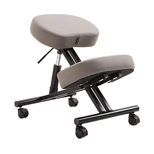 SONLIN Bürostuhl Leder Home Ergonomischer Kniestuhl Bessere Körperhaltung Höhenverstellbar Buckel Hocker-Studie Verhindern