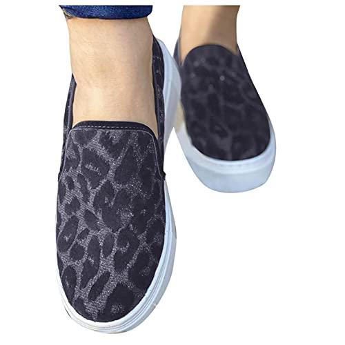 Padaleks Zapatillas de deporte para mujer, estilo informal, con estampado de leopardo, de lona, cómodas, para caminar, zapatos planos