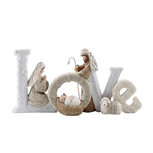 Christmas Nativity Set -Love/Family, Holy Family Nativity with Lamb,Nativity Set Holy Family Nativity Scene Figurine,Manger Scene Christmas Indoor Decoration Desktop Decor