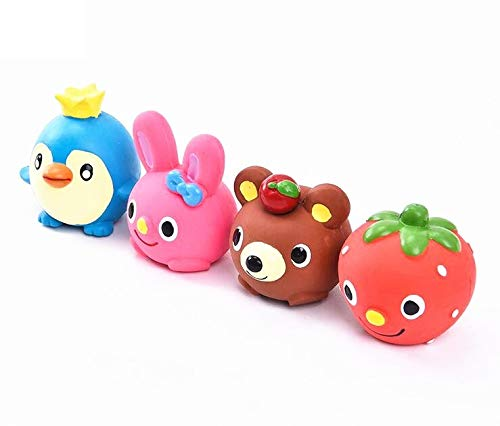 CatYou 4PCS Safe Latex Dog Squeaky Toys, Small Chew Molar Dog Toys, 2.3-Inch Tall, for Puppy Small Medium Dogs