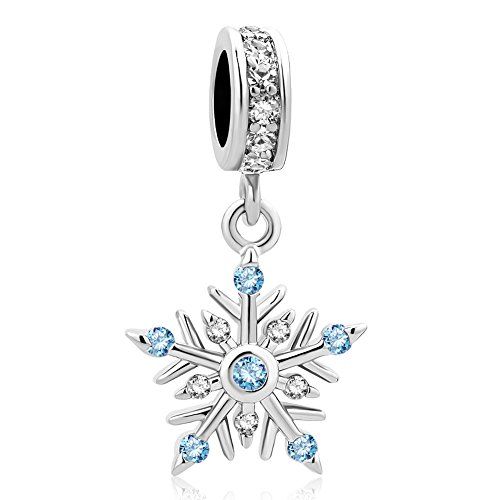 UNIQUEEN Blue Snowflake Dangle Charms Beads for Charm Bracelets