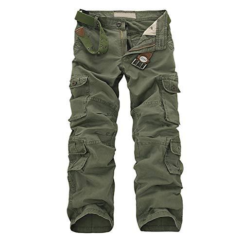 Allthemen Pantalon de Travail Homme Style Cargo - Multipoches sans Ceinture
