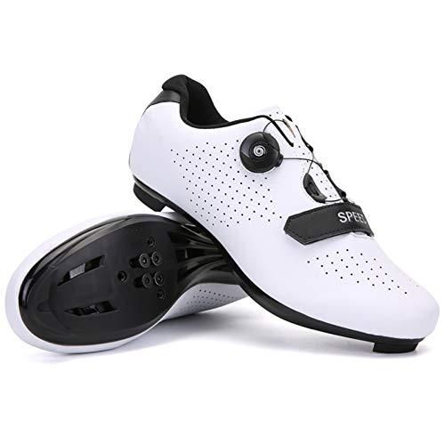 xxinaishan サイクルシューズ SPD/SPD-SL両対応 自転車靴 自転車シューズ 耐摩耗性 通気性 快速靴紐 初心者 XNS-569 (ホワイト, measurement_24_point_0_centimeters)