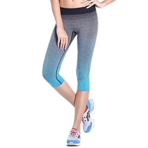 ELE GENS Damen Frauen Yoga Joggen Fitnesshose 3 4 Capri Hose Leggings Tights Pants Sport Quick Dry Gestreift (#A Blau, M)