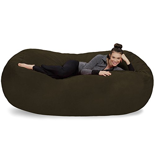 Sofa Sack - Plush Bean Bag Sofas with Super Soft Microsuede Cover - XL Memory Foam Stuffed Lounger Chairs for Kids, Adults, Couples - Jumbo Bean Bag Chair Furniture - Olive 7.5'